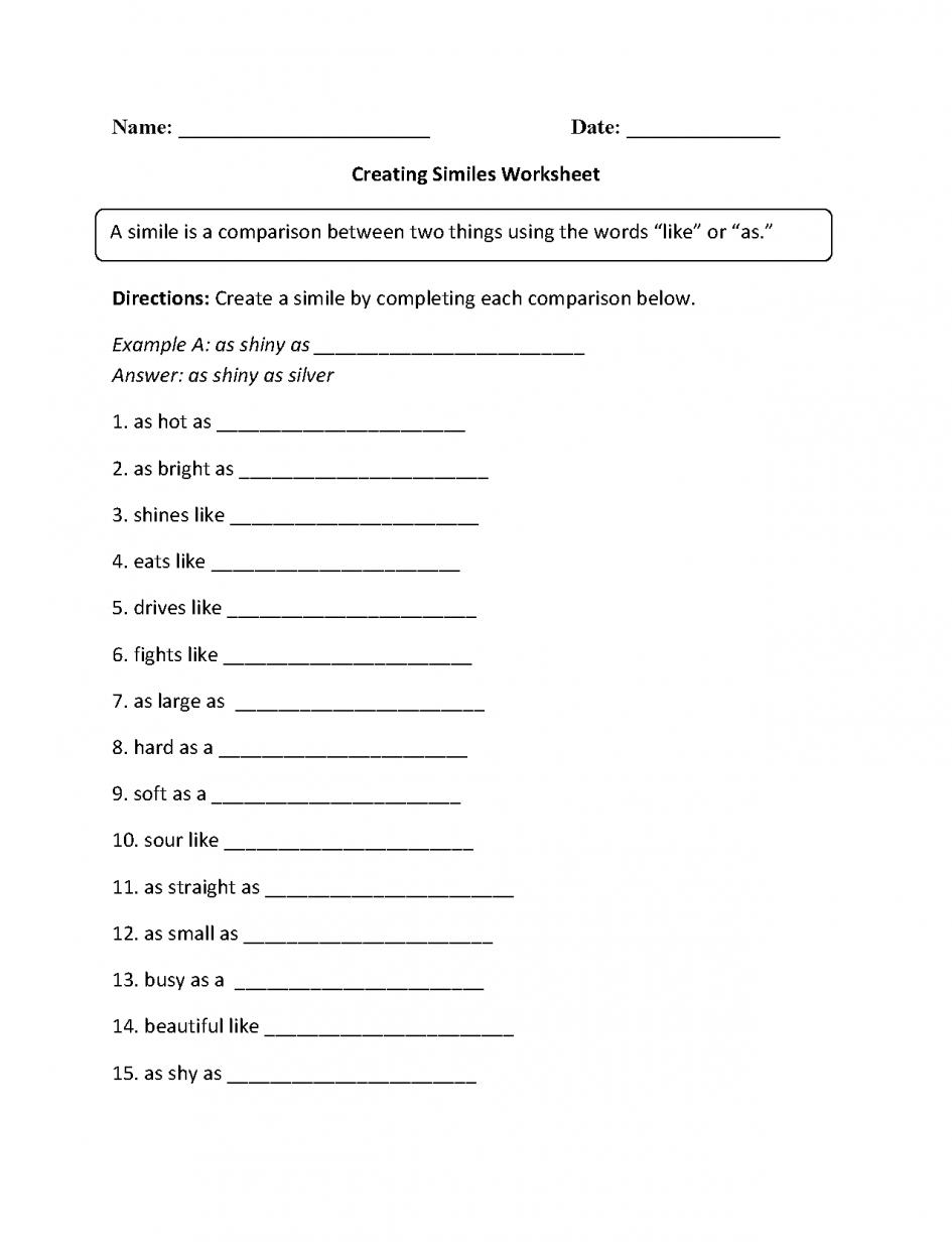 Kids  Simile Worksheets  Creating Similes Worksheet Educati Simile