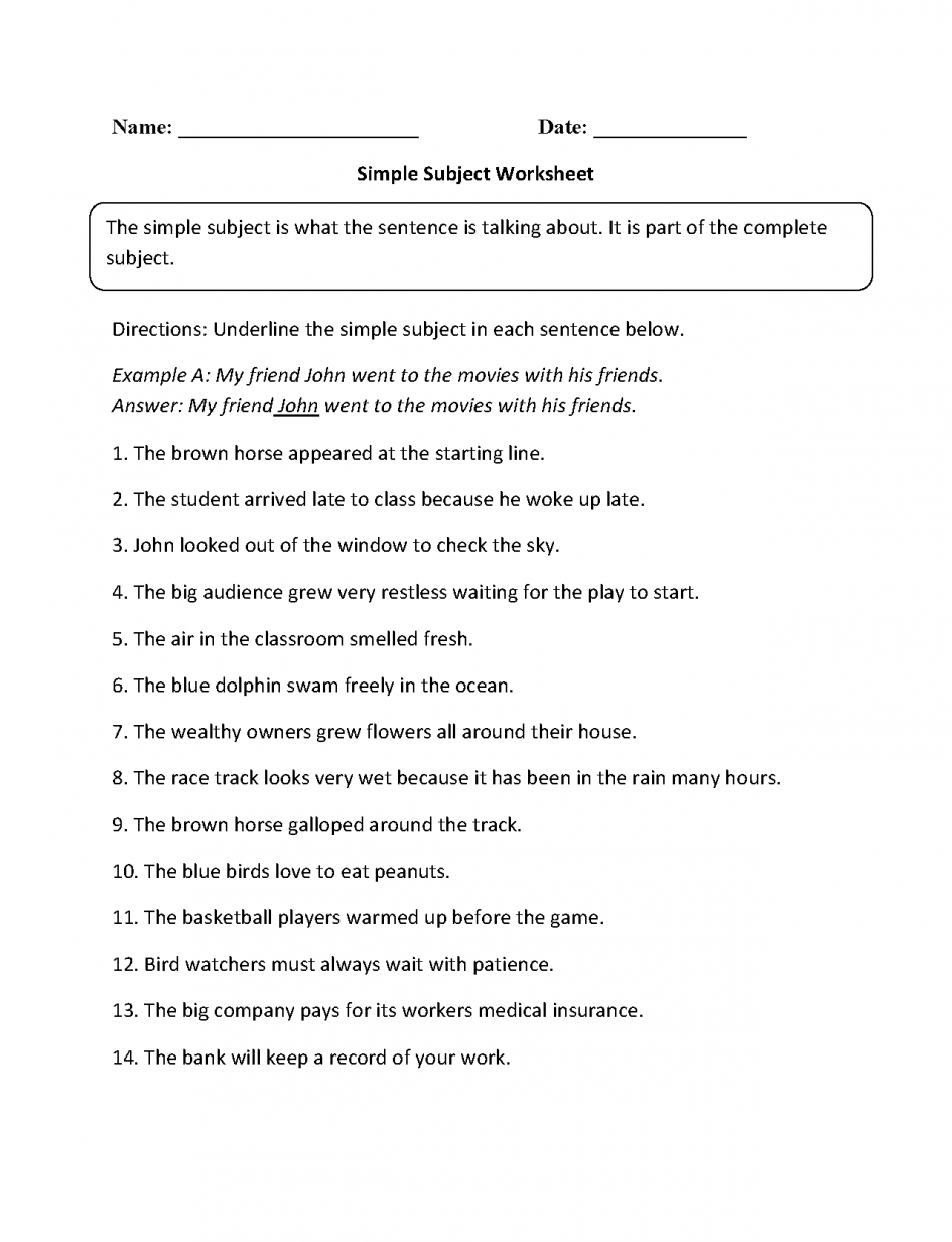 Kids  Subjects Worksheets  Subject And Predicate Worksheets Simple