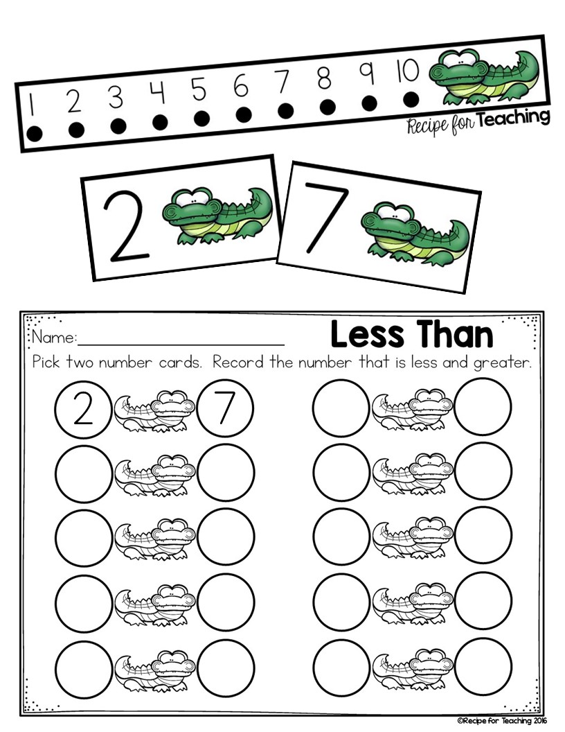 Kindergarten  Greater Than And Less Alligator Math Recipe For