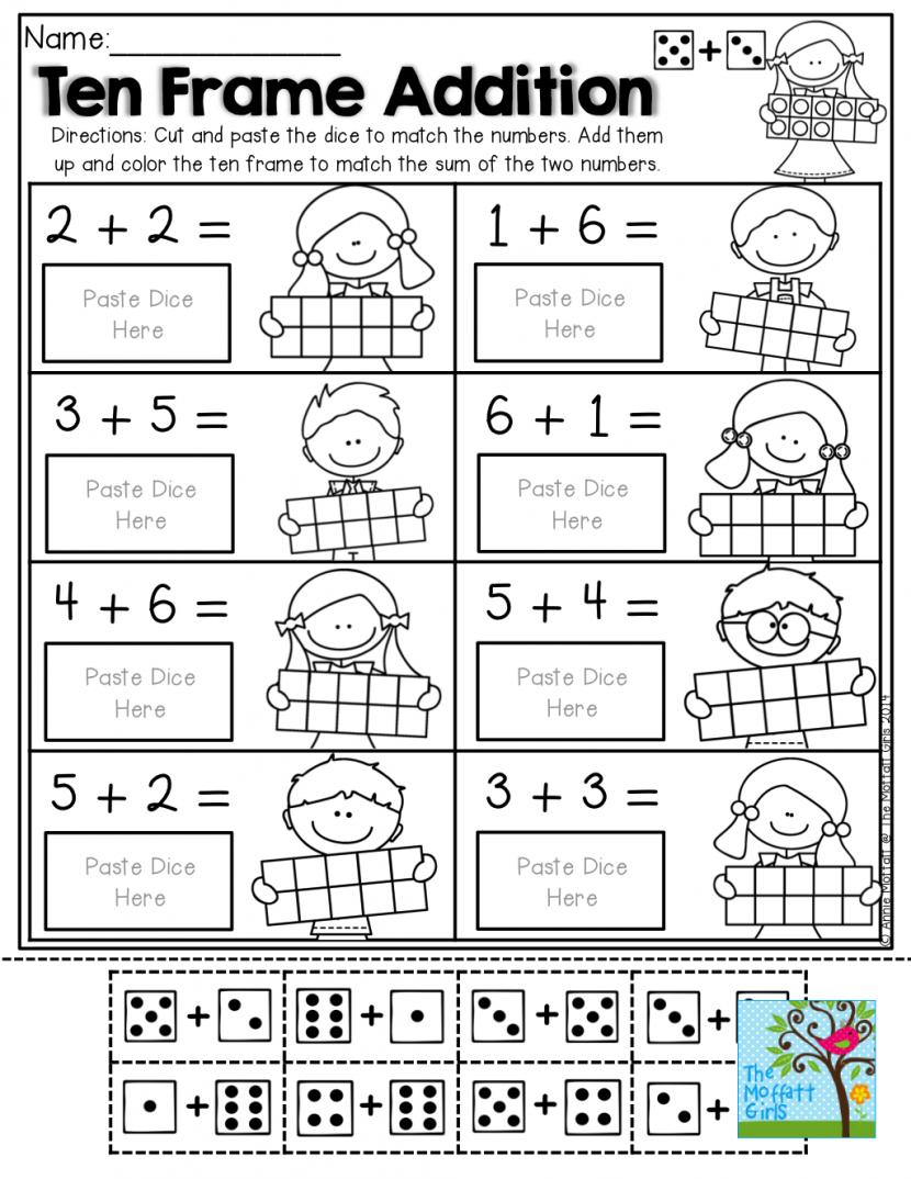Kindergarten Color Cut And Paste Worksheets For Kindergarten Ten