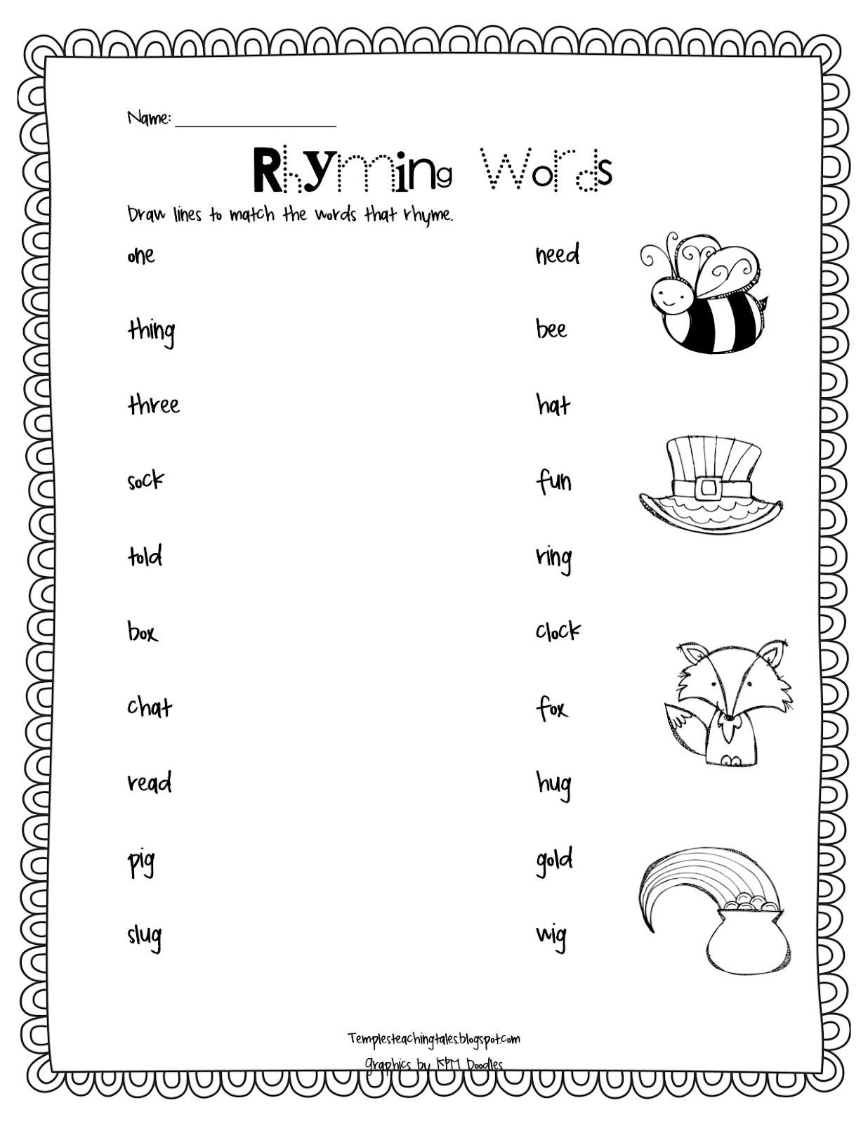 Kindergarten Free Kindergarten Rhyming Worksheets For Cut And