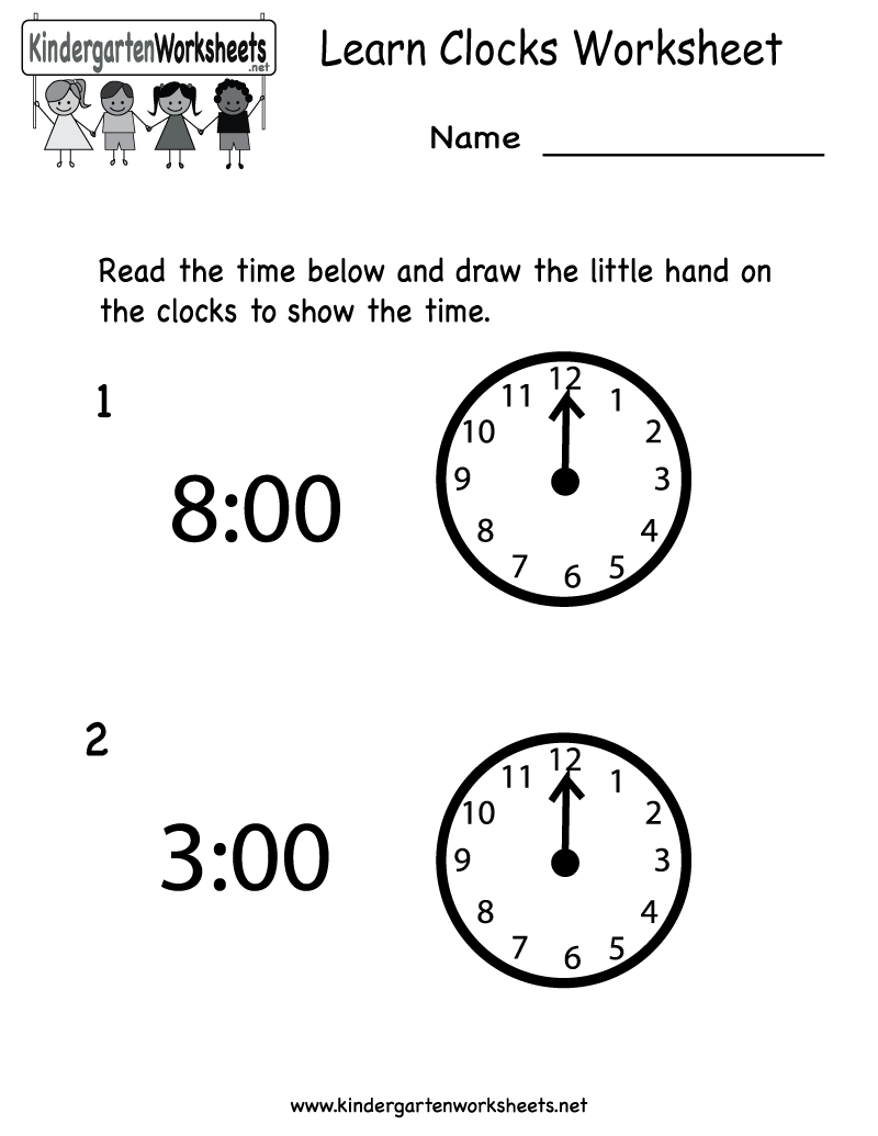 Kindergarten Learn Clocks Worksheet Printable
