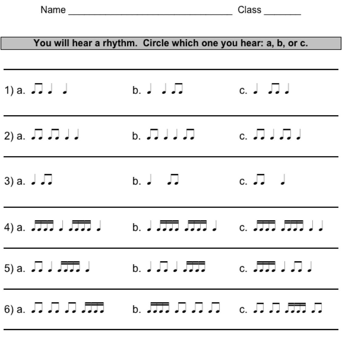 Kindergarten Pdf  Rhythm Practice Students Write Rhythm Math