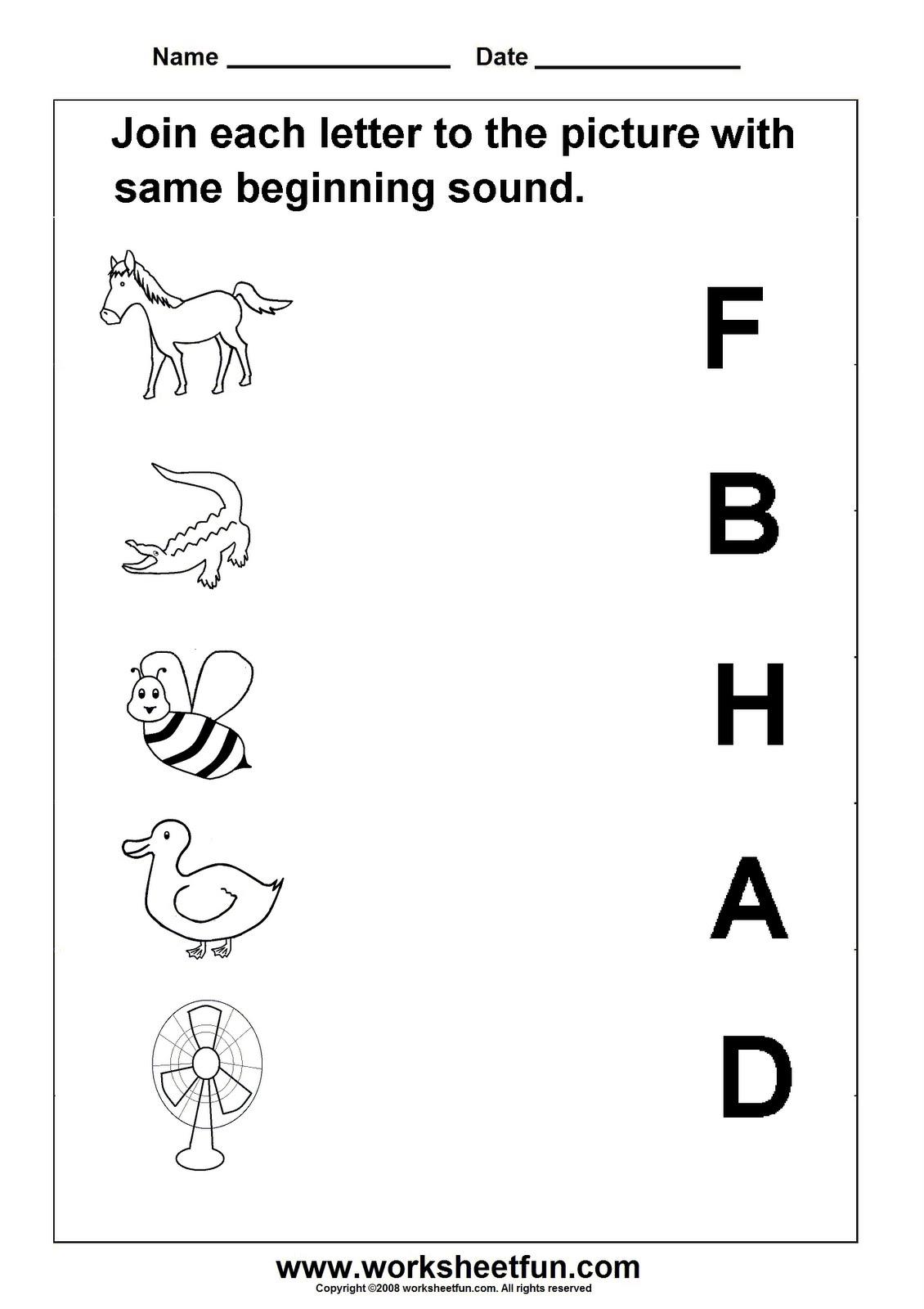 Kindergarten Worksheets Beginning Letter Sounds 239633
