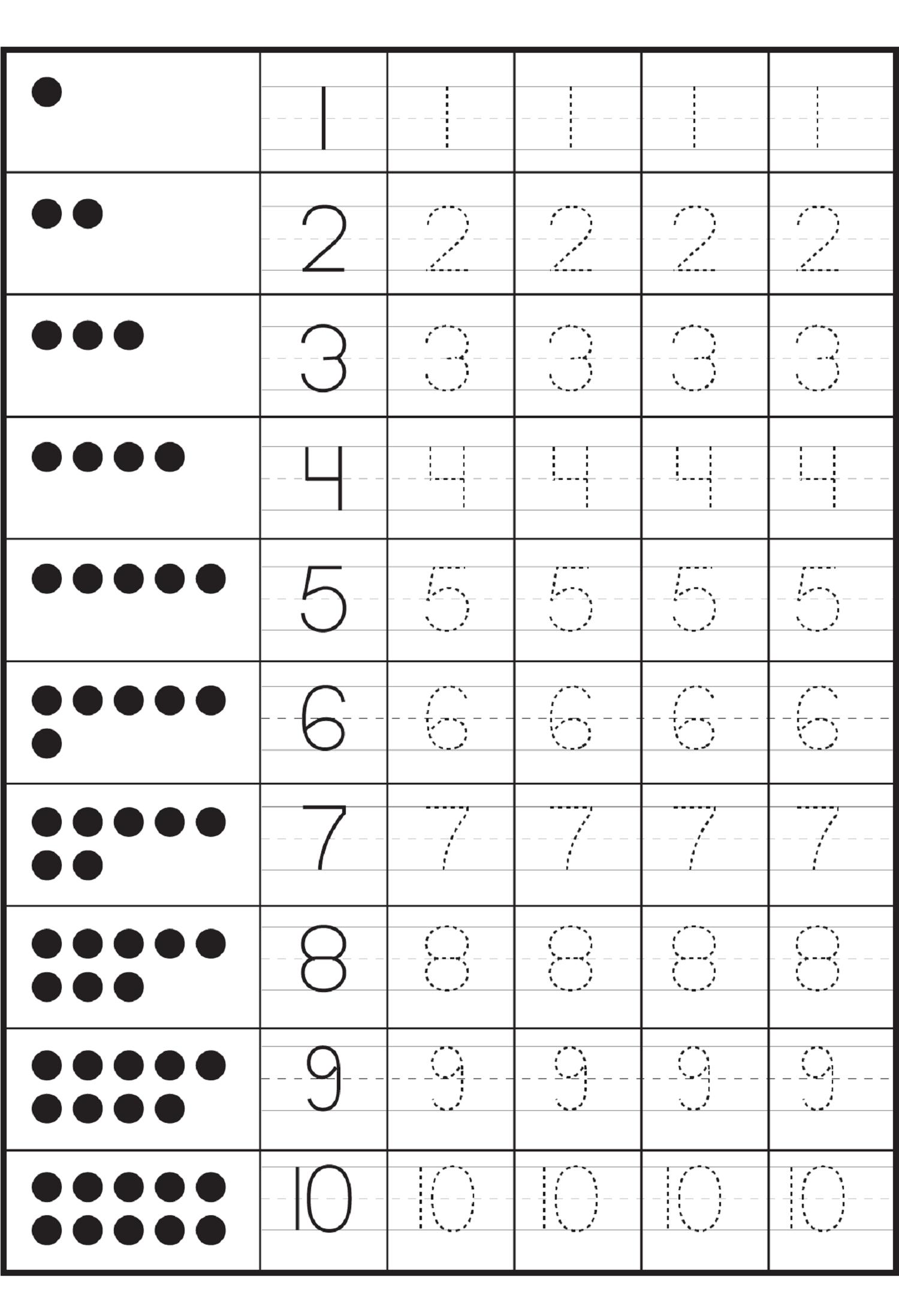 Kindergarten Worksheets Writing Numbers 60864
