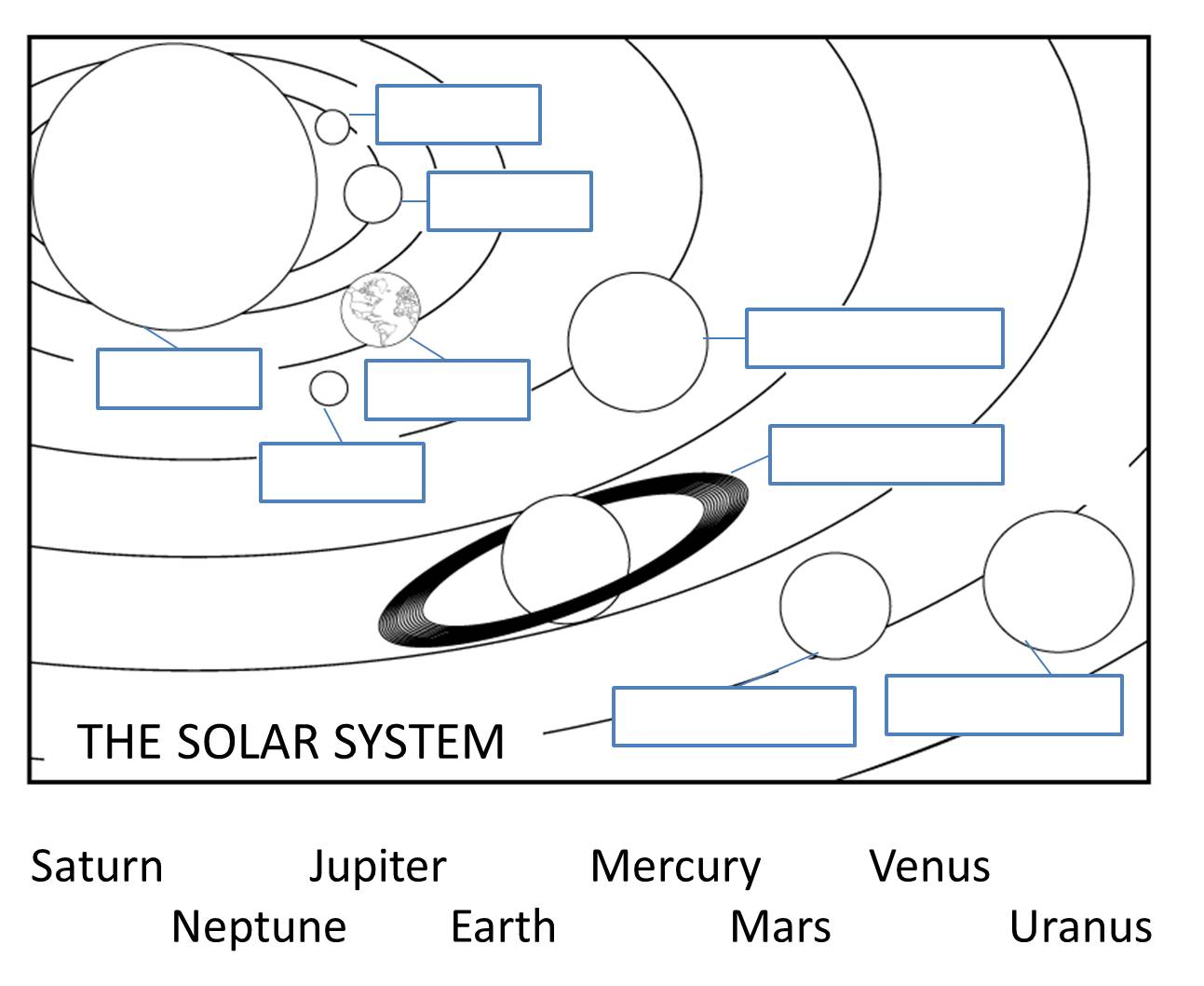 Label The Solar System Worksheets
