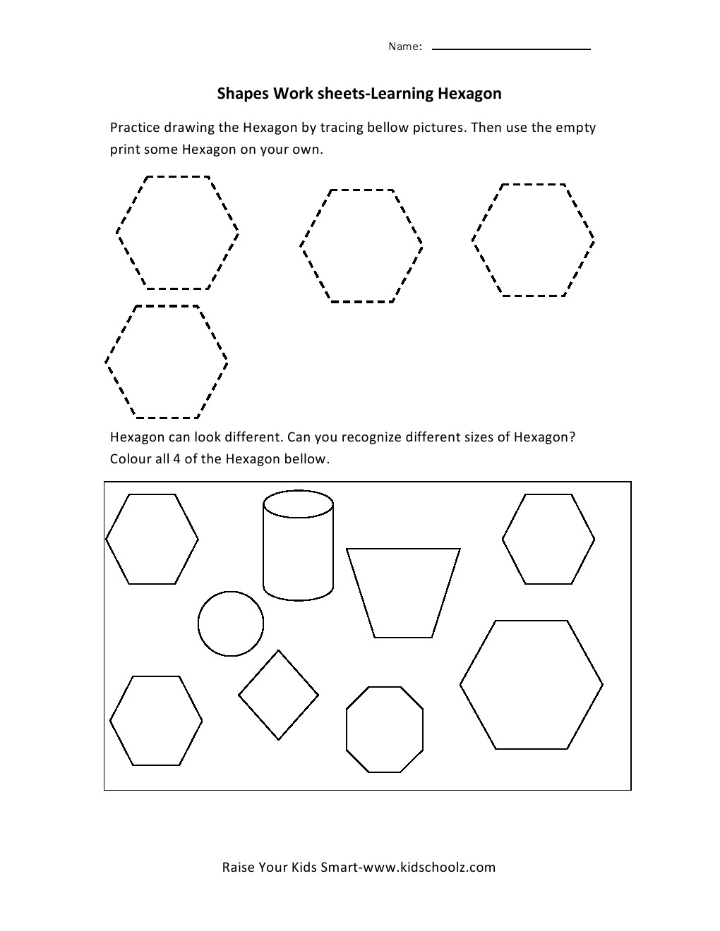 Learning Shapes Worksheets Hexagon Kidschoolz Counting Kinderg
