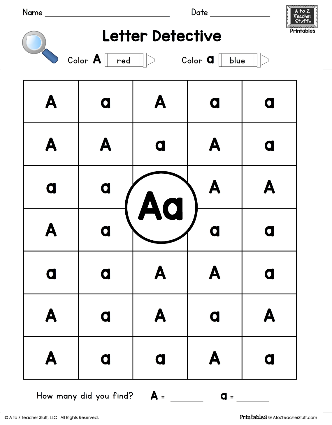 Letter A  Letter Detective Uppercase & Lowercase Visual