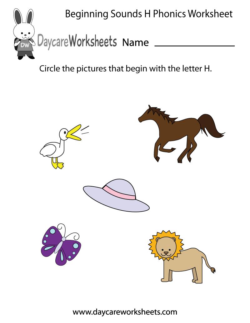 Letter H Phonics Worksheets