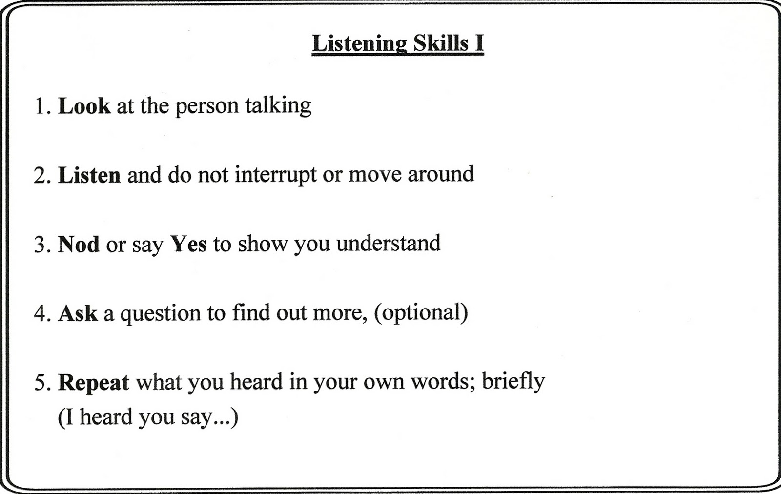 Listening Skills Worksheets For Adults
