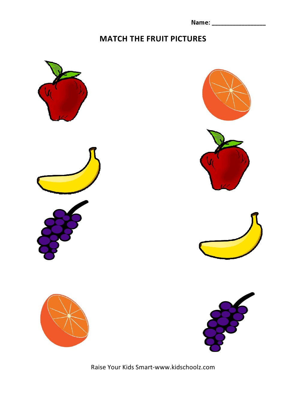 Match The Fruits Worksheets