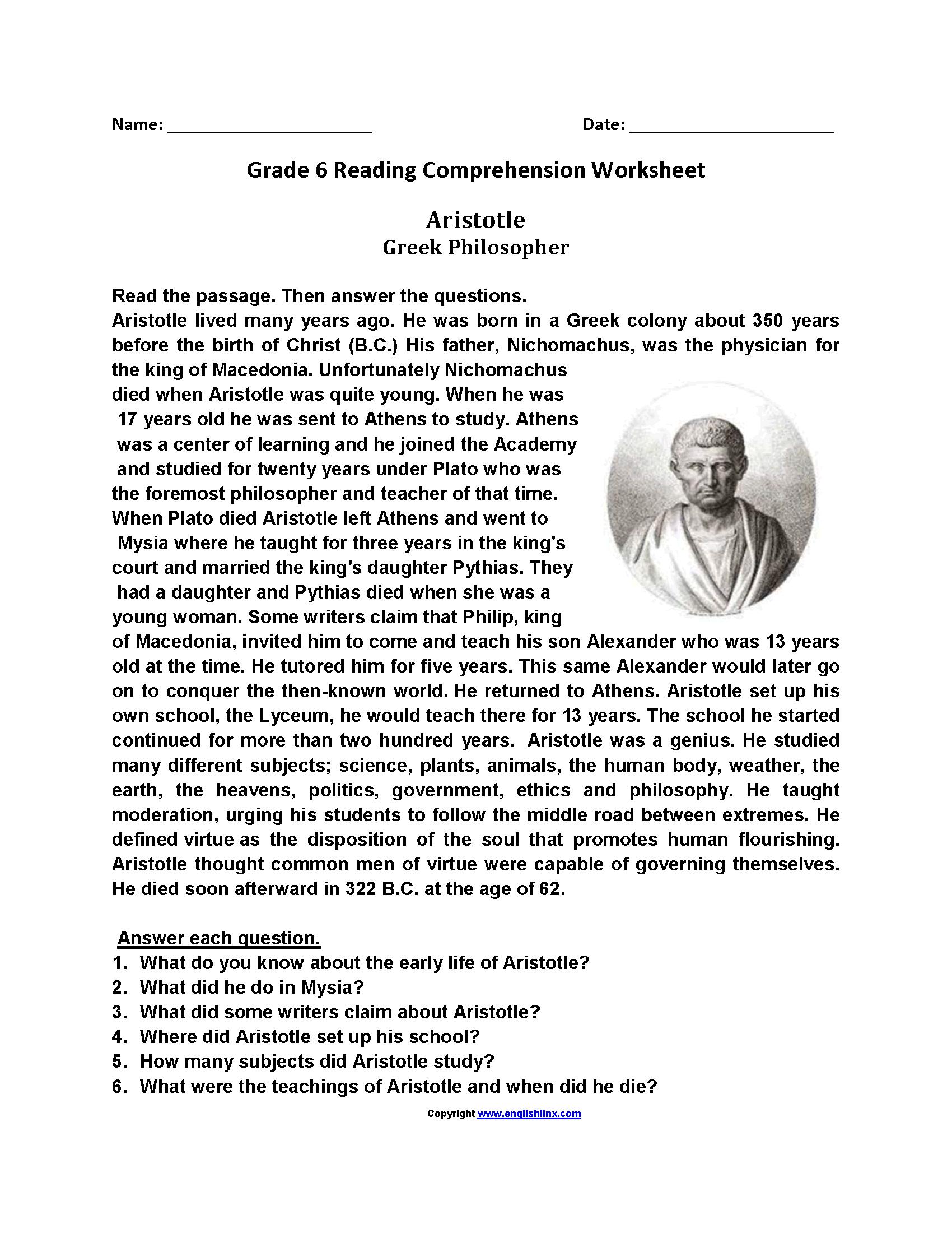 Math  Free Grade 6 Reading Comprehension Worksheets  Reading