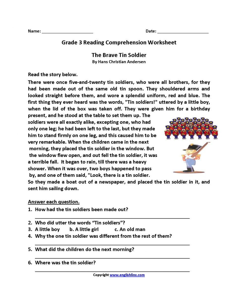 Math  Free Reading Worksheets For 3rd Grade  Reading Worksheets