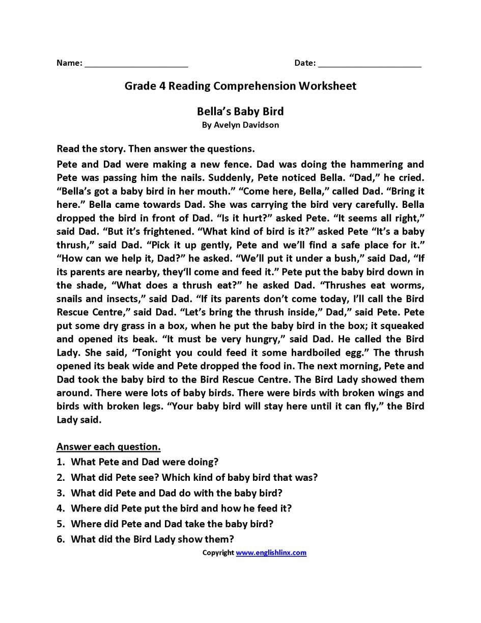 Math  Language Worksheets For Grade 4  Worksheets Th Grade Reading
