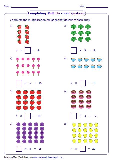 Math Array Worksheets