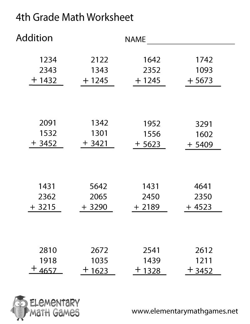 Math Worksheets For Fourth Grade Printable 763606