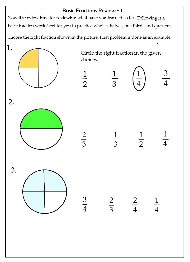 Math Worksheets For Grade 1 Fractions 477407