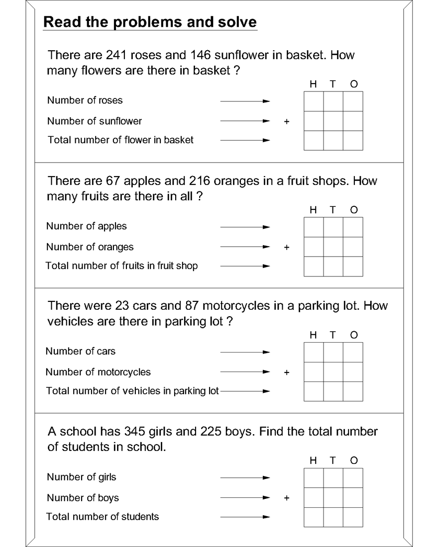 Maths Worksheets For Addition Word Problems 3403