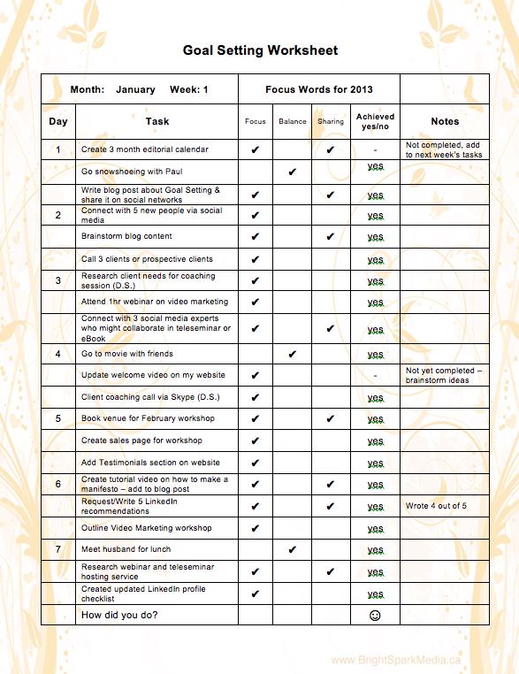 Modern Goals Excel Template Mold