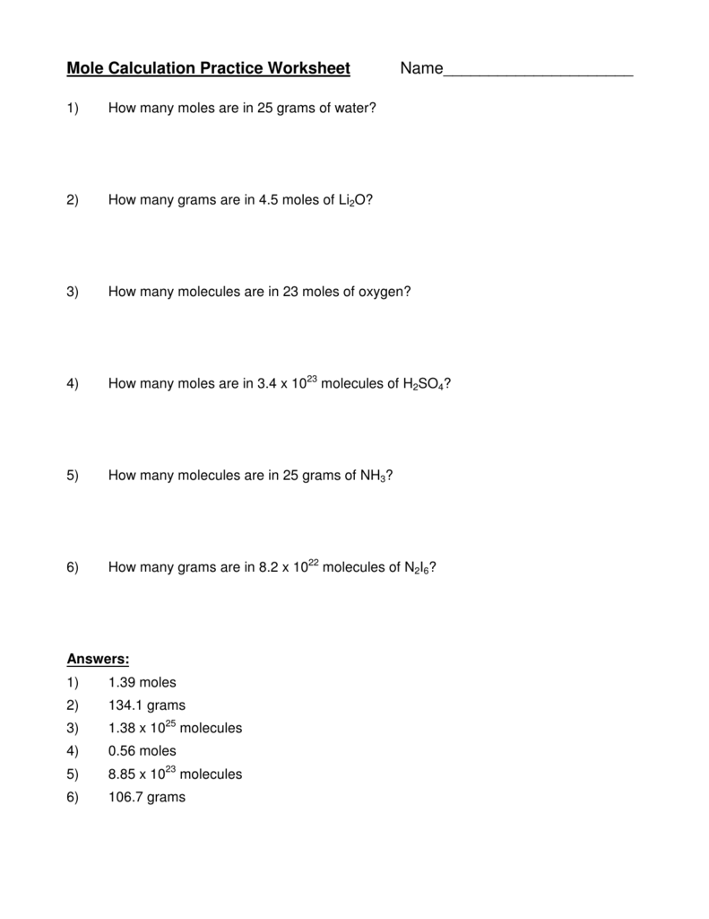 Mole Calculation Practice Worksheet Name_____________________