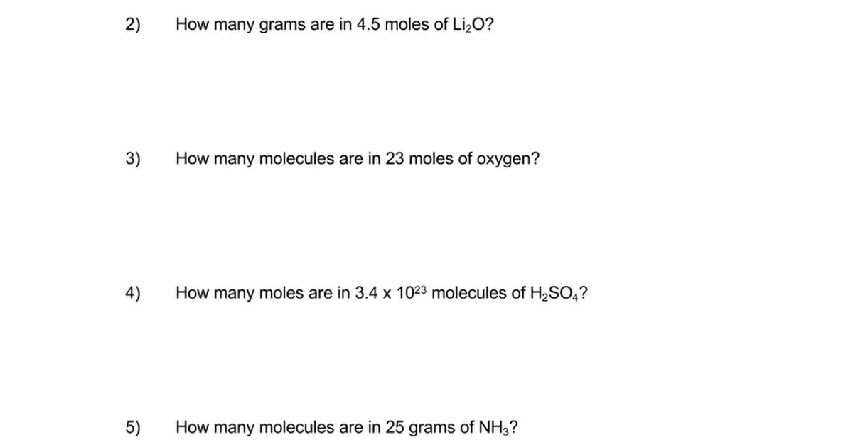 Mole Calculation Worksheet Free