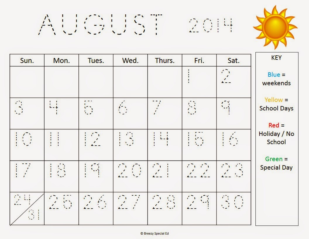 Monthly Calendar Worksheets + August Freebies!