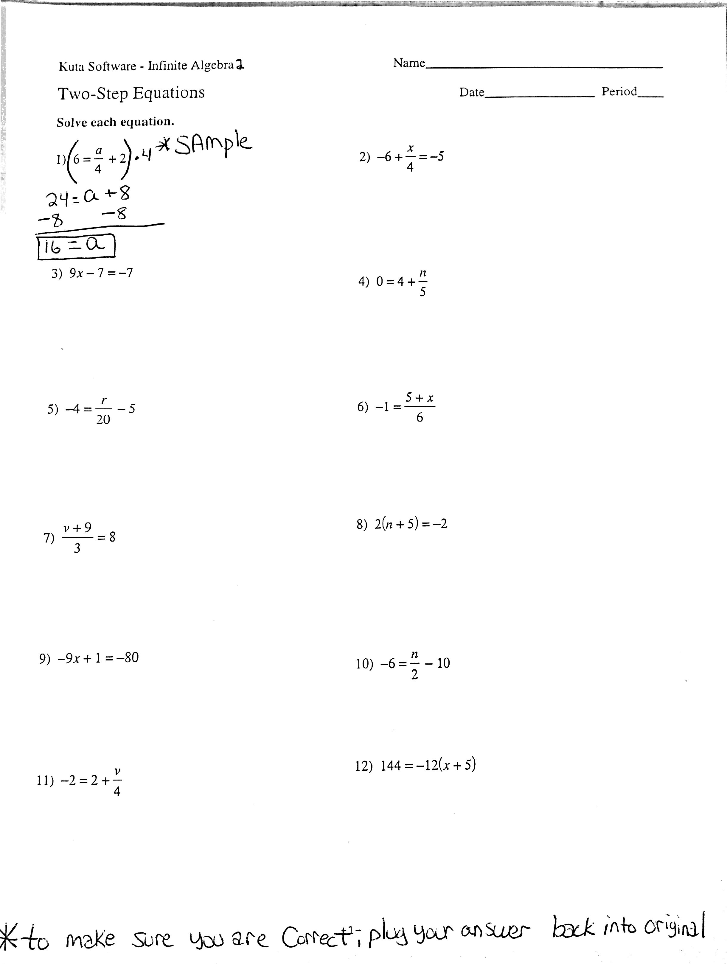 Multi Step Algebra Equations Worksheets The Best Worksheets Image