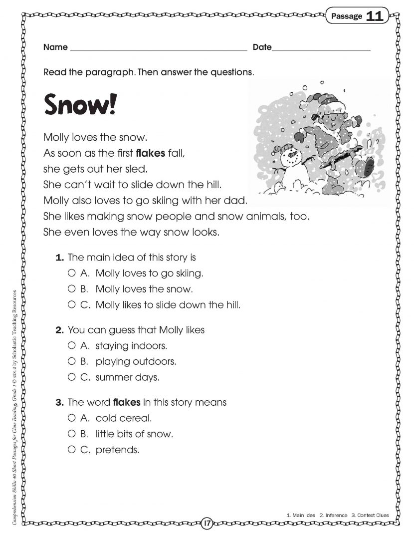 Multiple Choice Comprehension Worksheets 3rd Grade Reading Choi