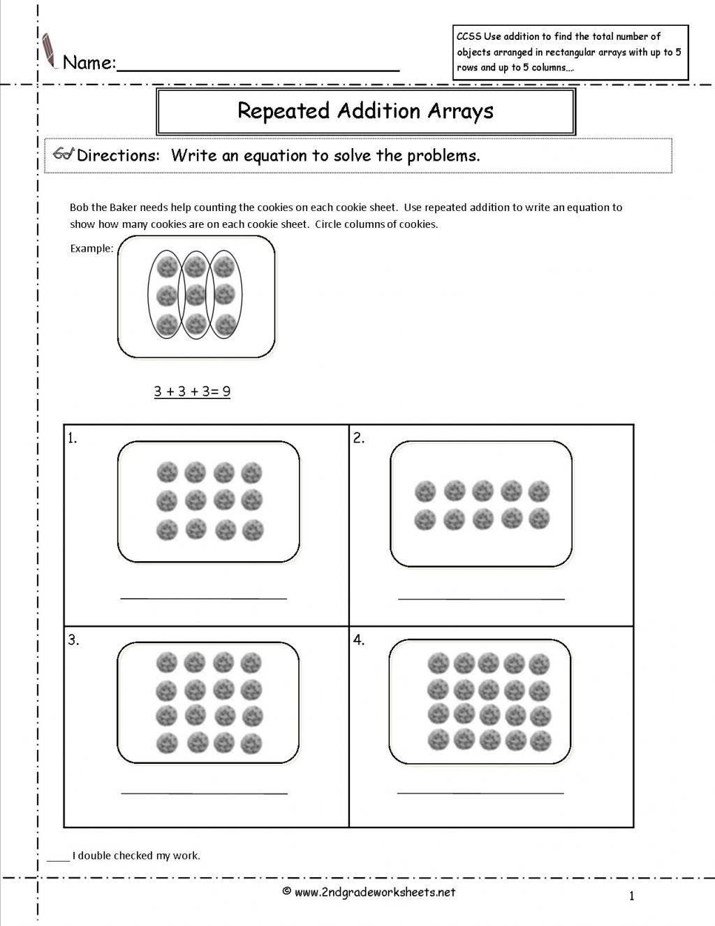 Multiplication Array Worksheets For Second Grade Fourth Arrays 5th