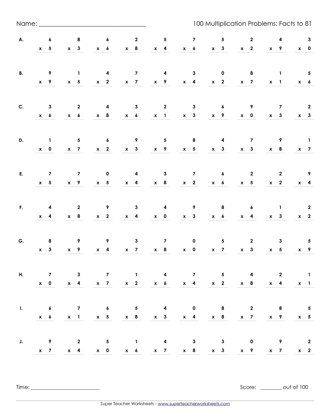 Multiplication Worksheets 100 Problems Timed Tests The Best