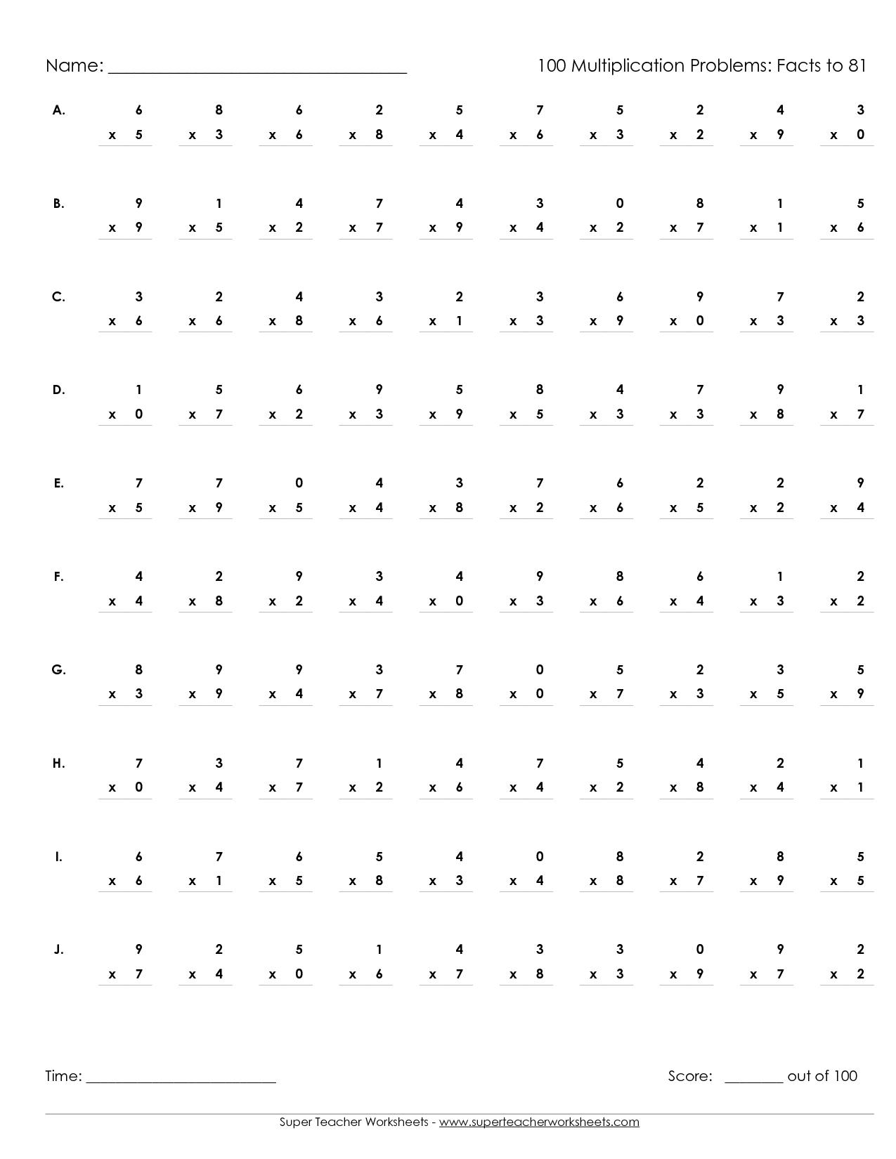Multiplication Worksheets Grade 5 100 Problems The Best Worksheets