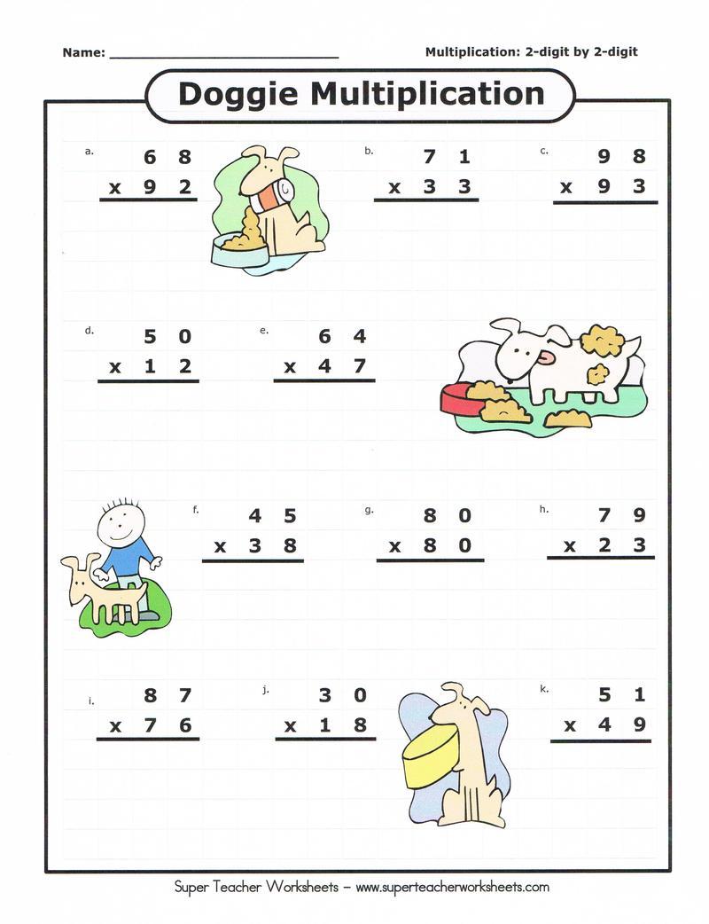 Multiplications  Multiplications Worksheet Practice For Digit By