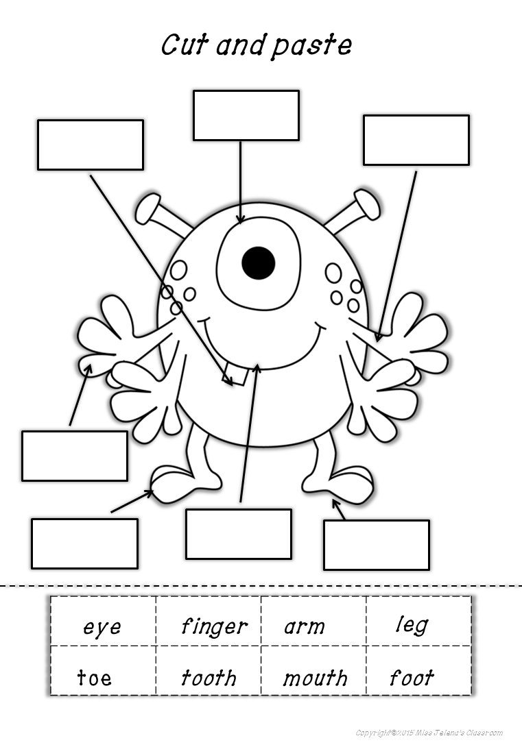 Esl Monster Body Parts Worksheets