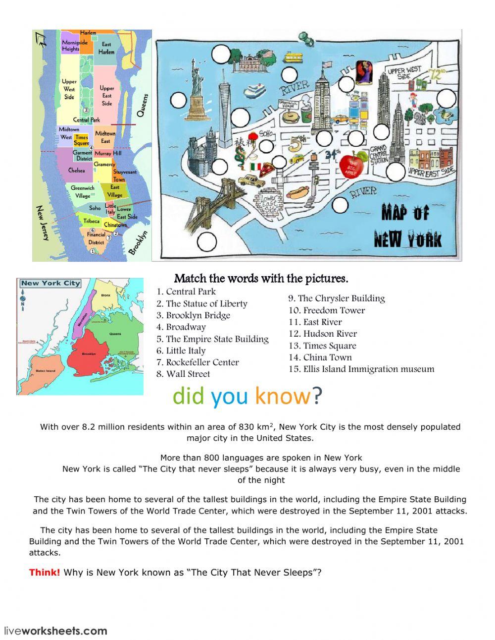 New York City Interactive Worksheet