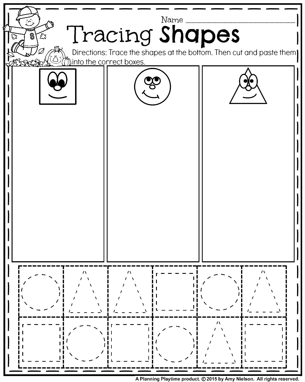 October Preschool Worksheets Tracing Shapes Fall And Free