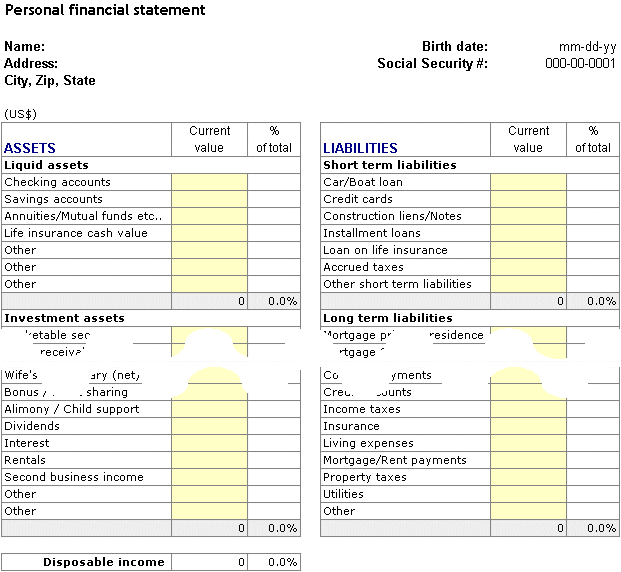 Personal Financial Statement Worksheet The Best Worksheets Image