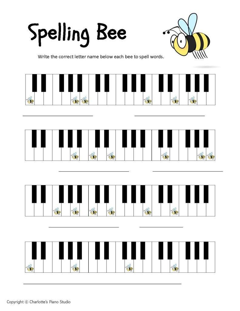 Piano Keys Worksheets