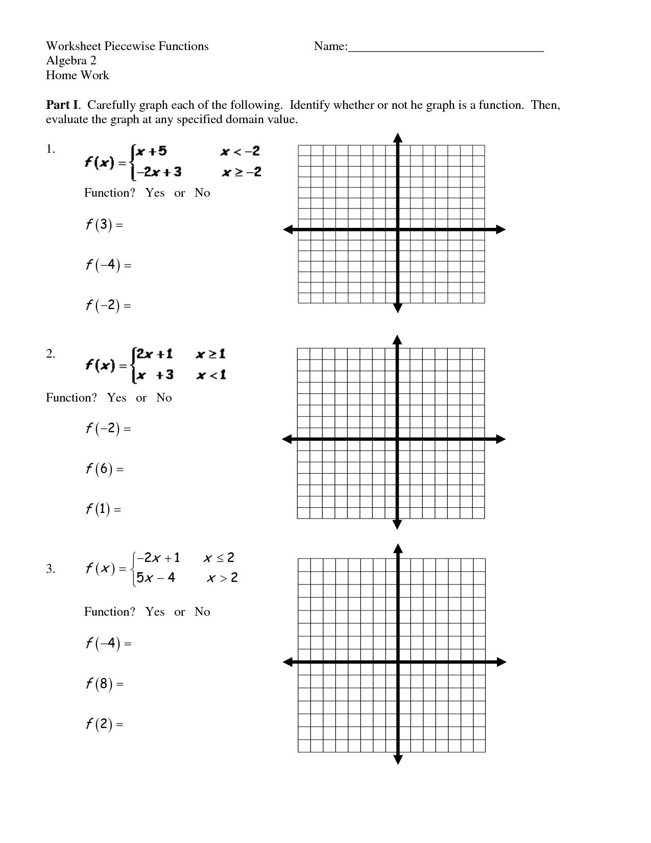 Piecewise Functions Worksheet With Answers Com Graphing