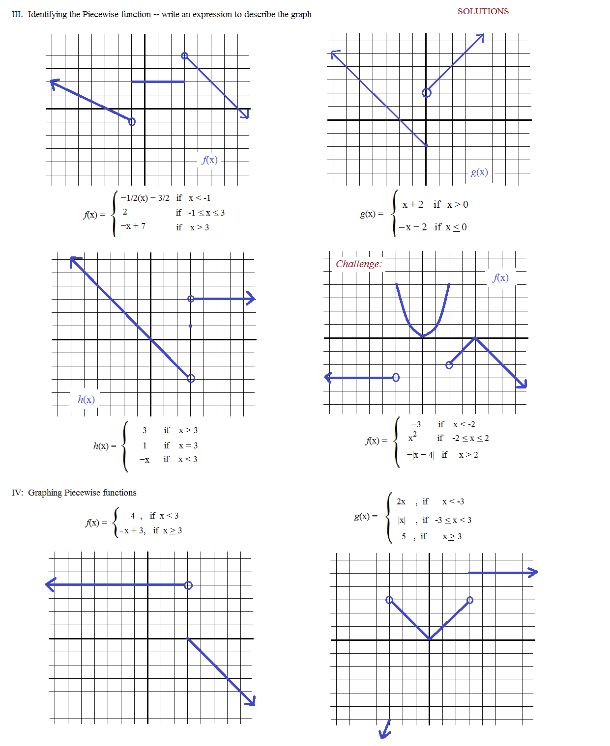 Piecewise Linear Function Worksheets