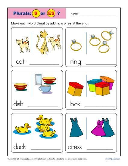 Plural Nouns Kindergarten Worksheets 151231