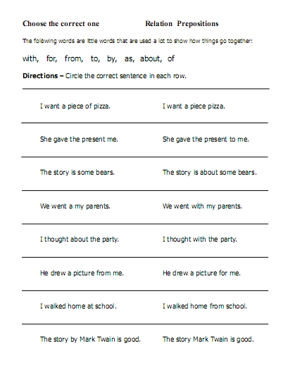 Prepositions Worksheets For Kindergarten Pdf 289196