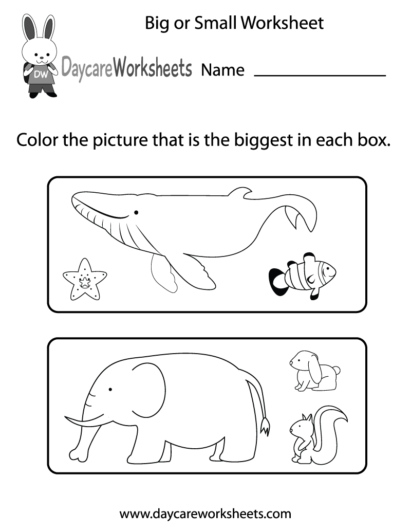 Preschoolers Have To Color The Pictures That Are The Biggest In