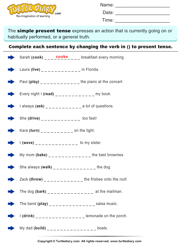 Present Tense Worksheet Pdf The Best Worksheets Image Collection