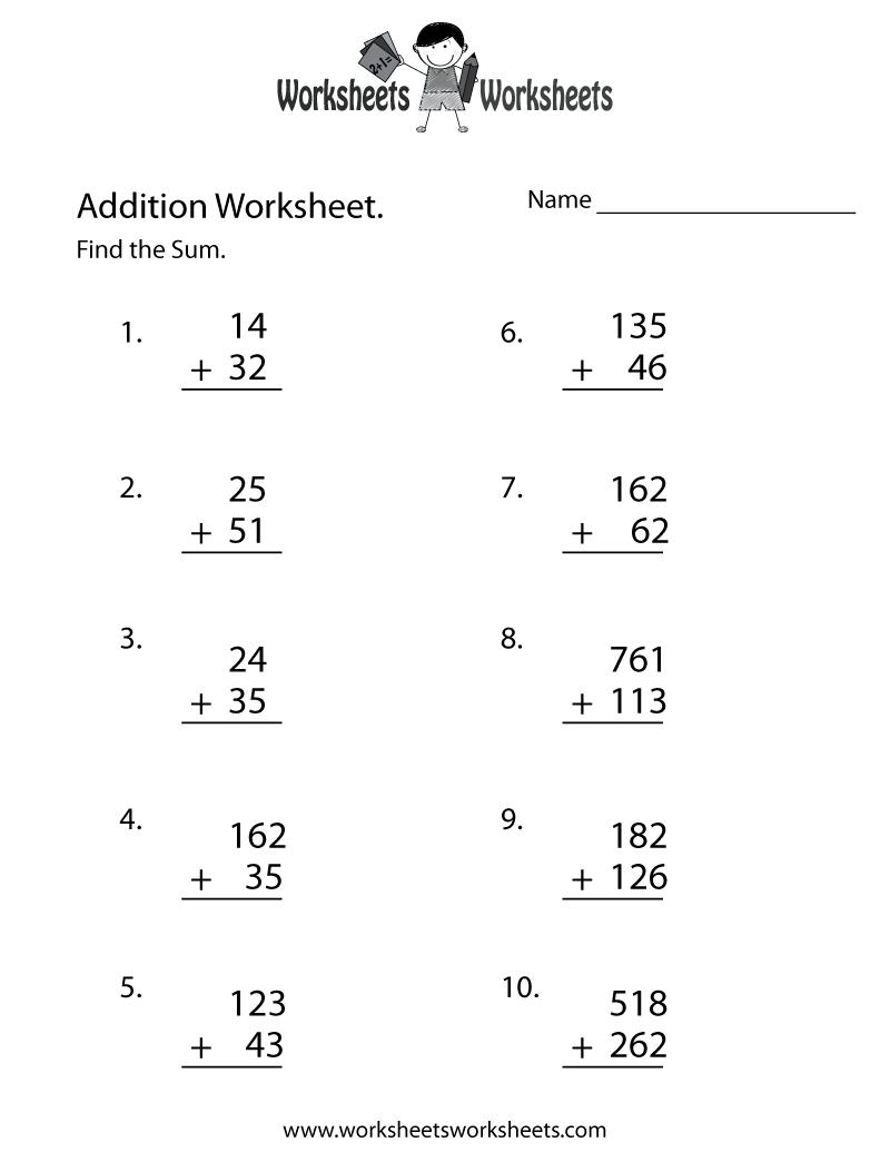 Printable Easy Math Worksheets