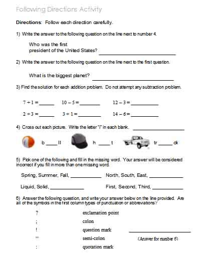 Printable Following Directions Worksheets The Best Worksheets