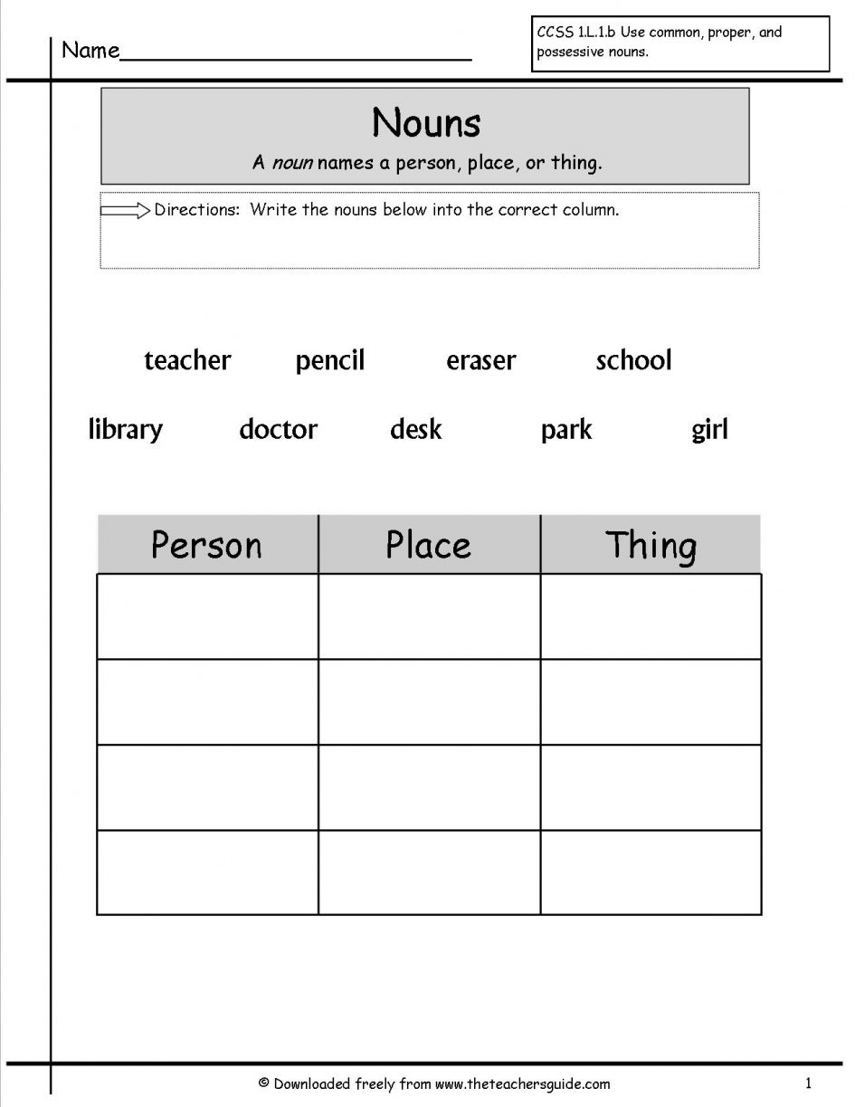 Printables  Common Noun Worksheets For Grade 1  Nouns Worksheets