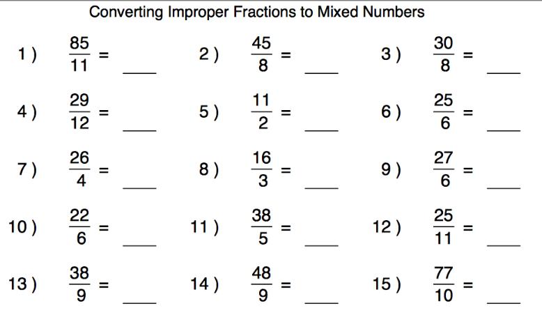 Printables  Improper Fractions Worksheet  Michaelbaronbooks