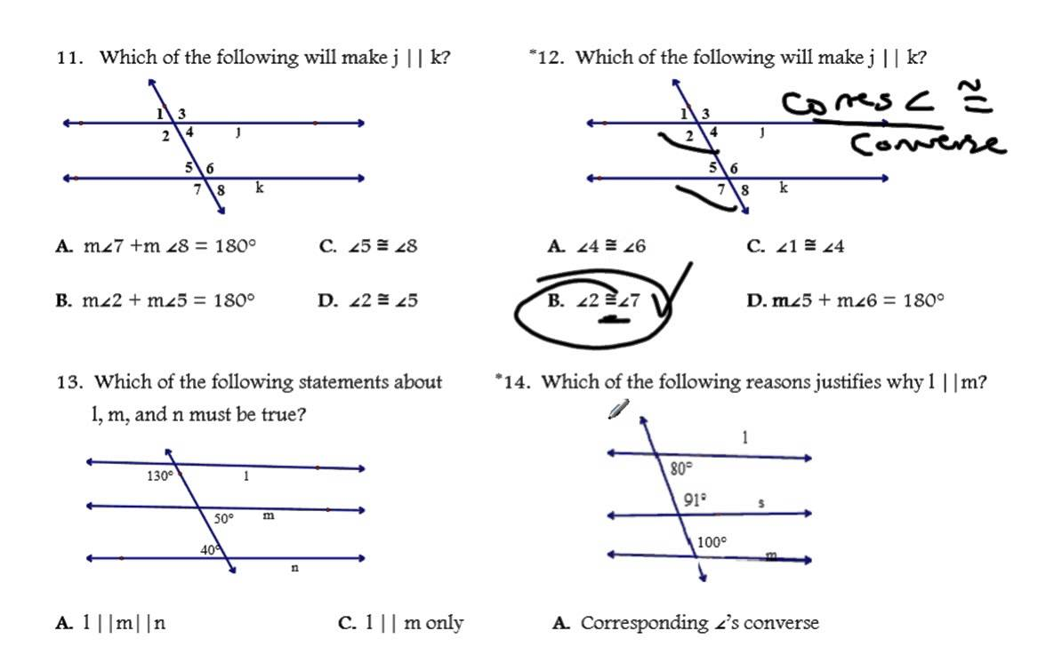 Proving Lines Parallel Worksheet Solutions