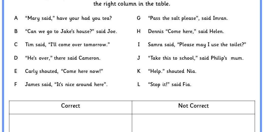 Punctuating Speech Worksheet Gallery