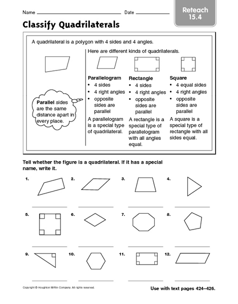 Quadrilaterals Worksheets 4th Grade The Best Worksheets Image